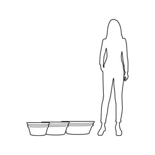 Illustration of Inner Gardens low profile Watts pot planter, showing scale