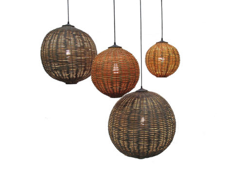 Inner Gardens Rattan Globe Light Pendant Fixture. Designed by renowned landscape designer Stephen Block.