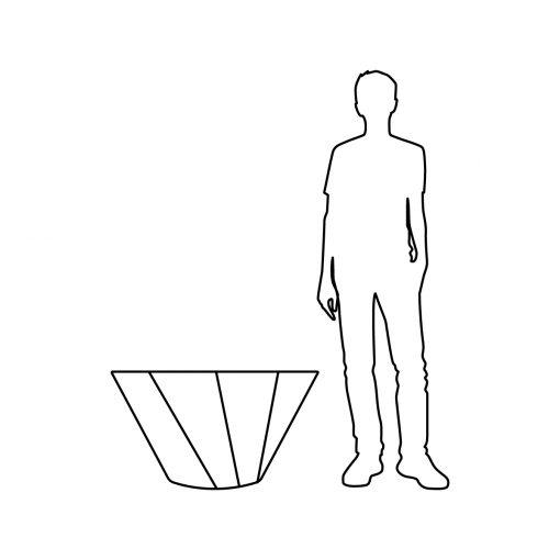 Illustration of Inner Gardens Spiral terra cotta planter, showing scale
