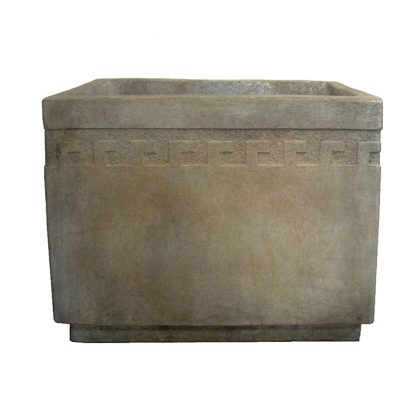 Rectangular Cement Planter with Greek Key Design