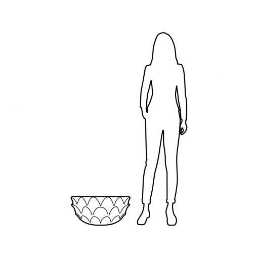 Illustration of Inner Gardens Low Profile Artichoke pot planter, showing scale