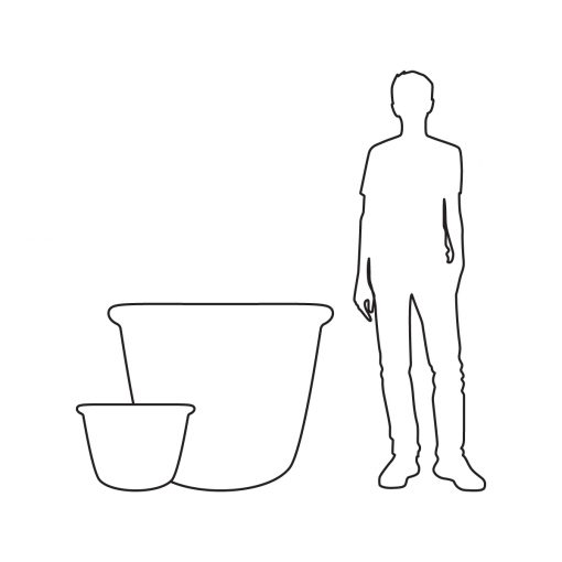 Illustration of Inner Gardens bullnose pot planter, showing scale