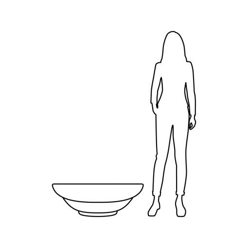 Illustration of Inner Gardens low deco round bowl pot planter, showing scale