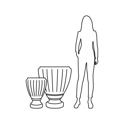 Illustration of Inner Gardens fluted urn planter, showing scale