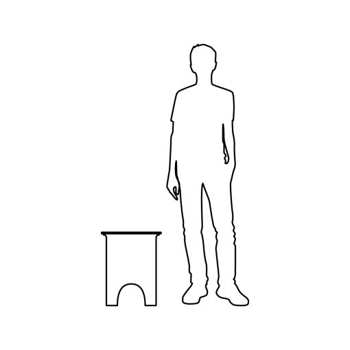 Illustration of Inner Gardens glazed garden stool, showing scale