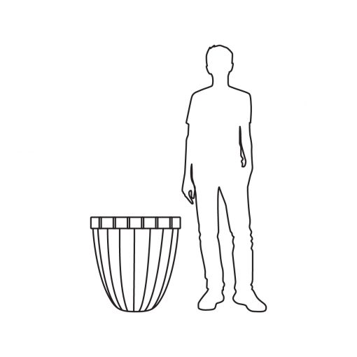 Illustration of Inner Gardens bronze pillow planter pot, showing scale