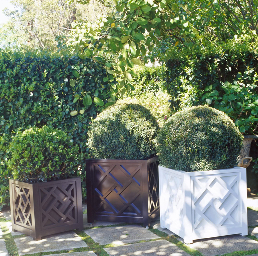 Aluminum Box Planter With Chippendale Pattern Inner Gardens