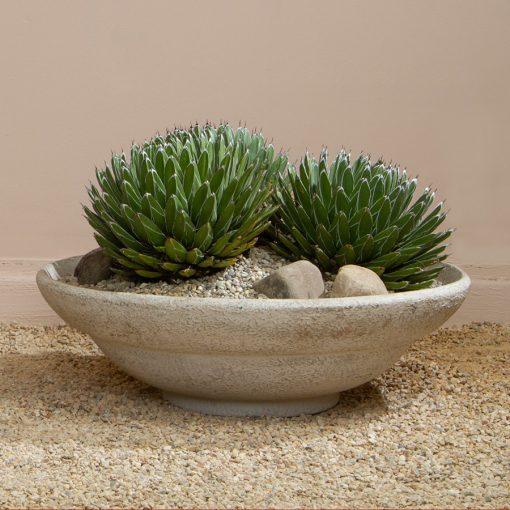 Inner Gardens Deco Low Round Bowl: Terra Cotta Pot stone planter. Designed by renowed landscape designer Stephen Block.