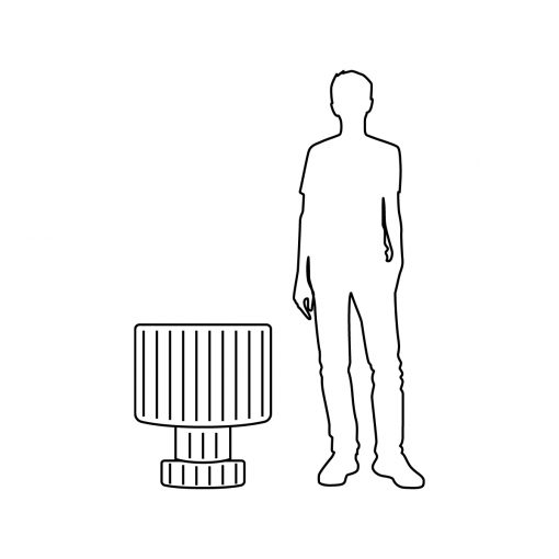Illustration of Inner Gardens gear planter pot, showing scale