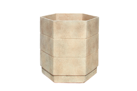 MLT-87--Large-6-gon-Cast-Fibercement-Planter-with-applied-Finish-18''D-x-19.5''H