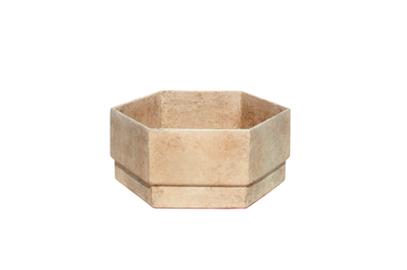 MLT-87-Small-6-gon-Cast-Fibercement-Planter-with-applied-Finish-18''D-x-8''H