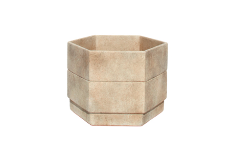 MLT87-Medium,6-gon-Cast-Fibercement-Planter-with-applied-Finish-18''D-x-13.5''H