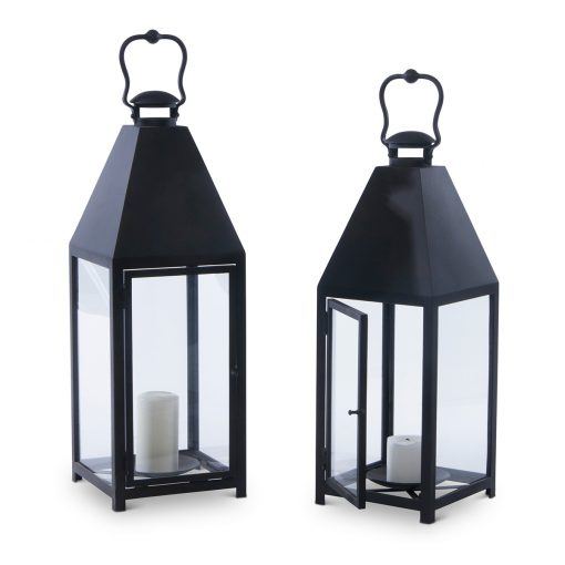 Black Lantern-style candle holders by Inner Gardens