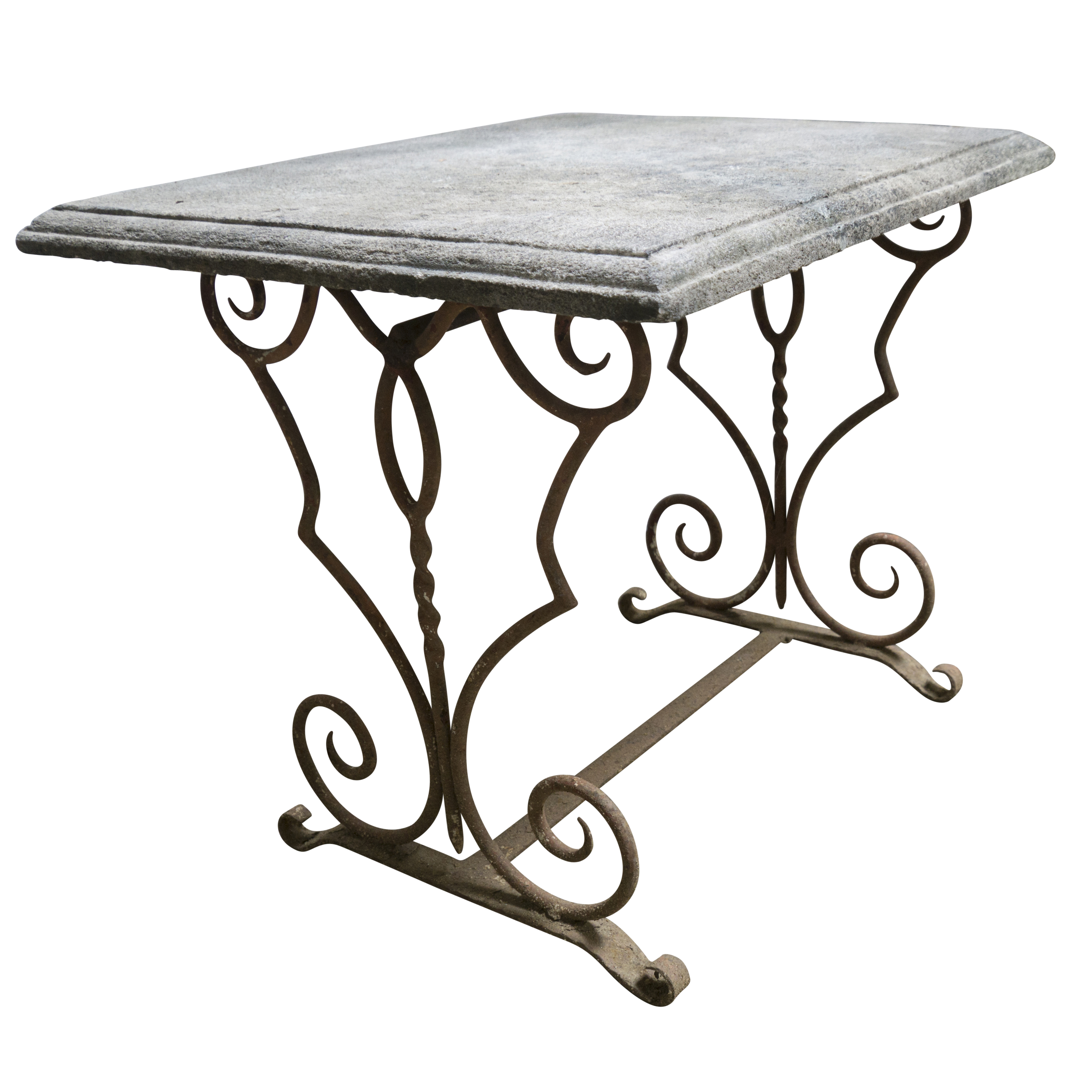 Bon 19th Century French Antique Limestone Table With Iron Base