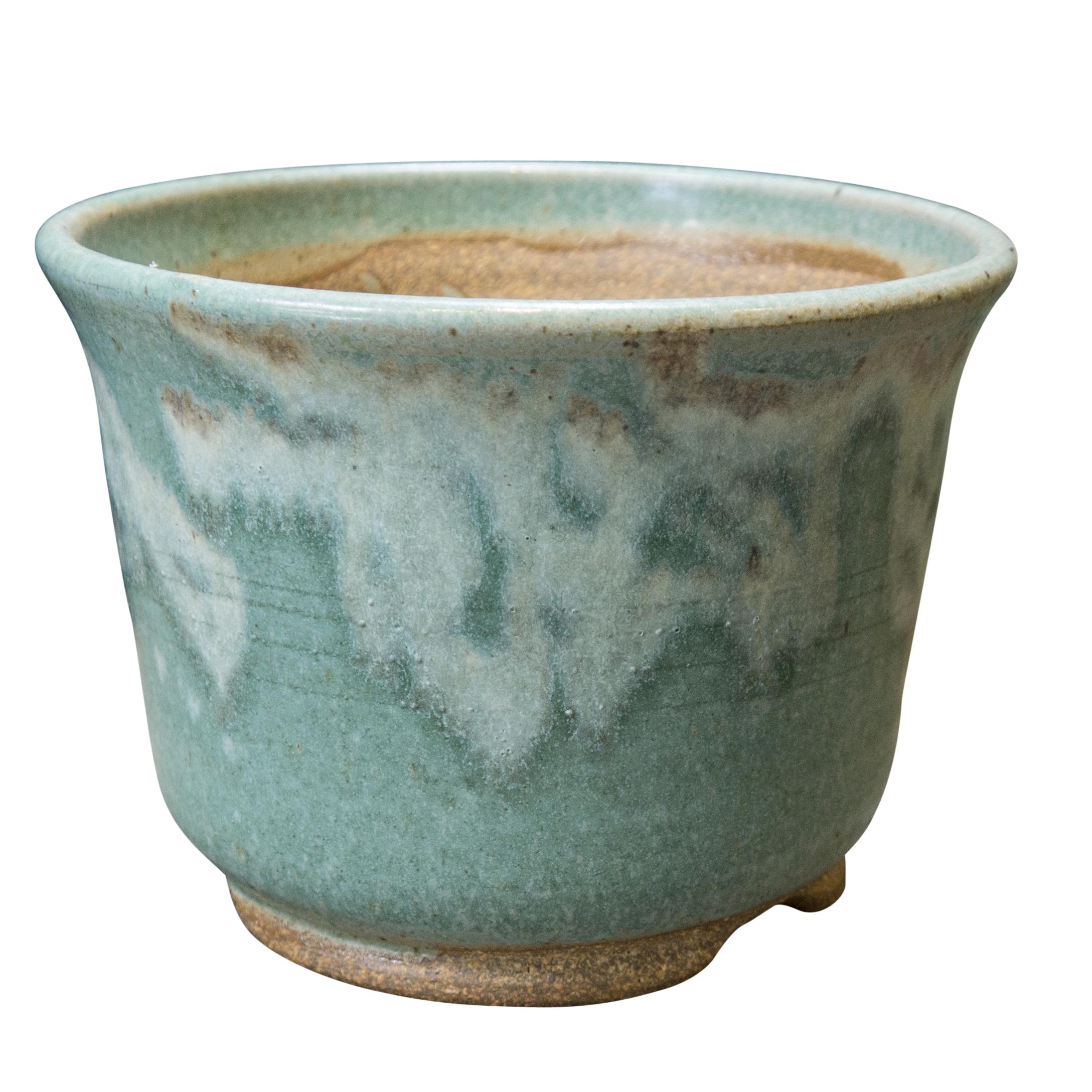Handmade Green And White Glazed Ceramic Planter Inner
