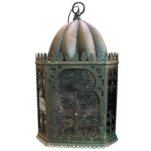 Inner Gardens Moorish Wrought Iron Outdoor Hanging Lantern. outdoor hanging lantern, outdoor garden lighting, wrought iron lamp, moroccan lamp hanging. Designed by renowned landscape designer Stephen Block.