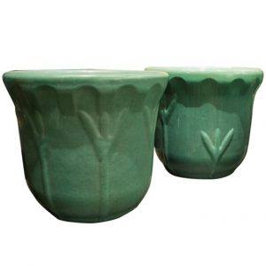 Garden City Iris Ceramic Planters In Tea Dust Green