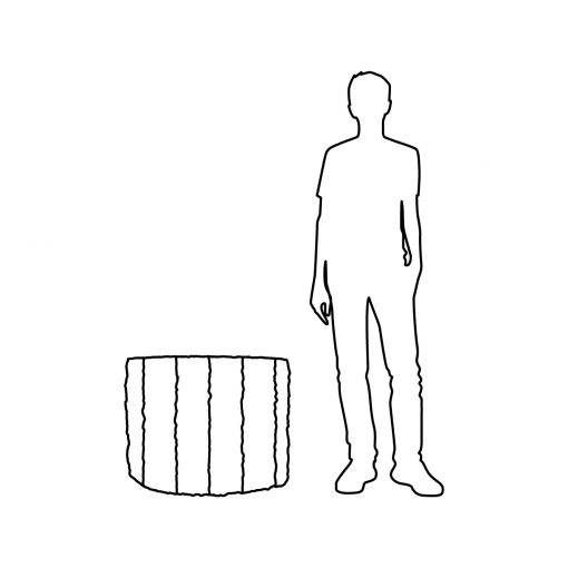 Illustration of Inner Gardens St Remy distressed planter pot, showing scale