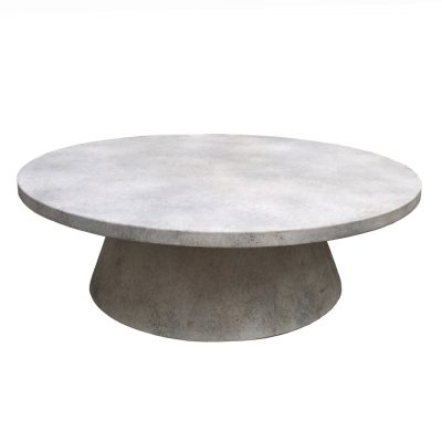 "Inner Gardens Large Modern Round Table in French Grey. ""patio table, outdoor patio table, stone table, concrete patio table"". Designed by renowned landscape designer Stephen Block."