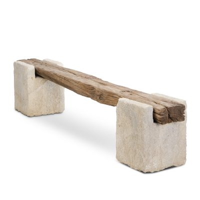 "Inner Gardens French Reclaimed Wood Bench with Limestone Legs . outdoor bench backless, reclaimed wood bench, reclaimed wooden bench, outdoor seating bench"". Designed by renowned landscape designer Stephen Block."
