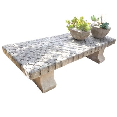Inner Gardens Avy: French Garden Stone Bench with Chesterfield Pattern. stone bench, french garden, outdoor bench garden, outdoor bench small, outdoor bench modern, outdoor bench backless, outdoor seating bench. Designed by renowned landscape designer Stephen Block.