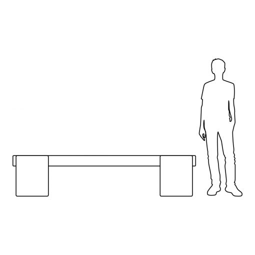 Illustration of Inner Gardens French Limestone custom-made wood bench, showing scale