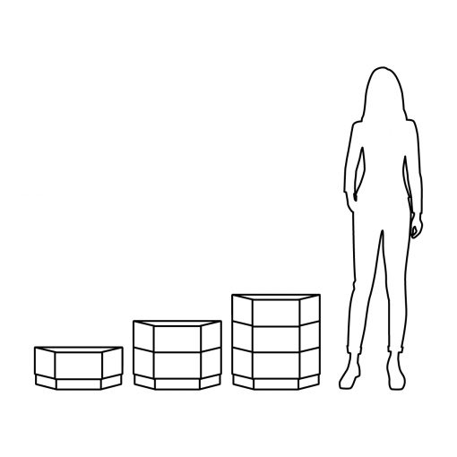 Illustration of Inner Gardens modern hex planter pot, showing scale