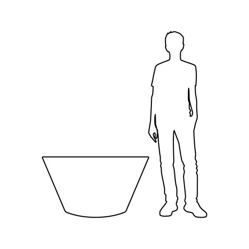 Illustration of Inner Gardens large black modern tub planter, showing scale