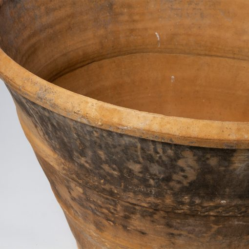 Antique Low, Wide Spanish Terra Cotta Cosi Pot. Vintage terracotta outdoor plant pot. Perfect for creative landscaping and beautiful gardens. Discovered by renowned landscape designer Stephen Block, owner of plant nursery and garden store Inner Gardens.