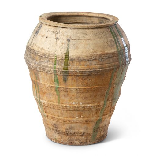 Antique Spanish Terra Cotta Glazed Jar. Vintage terracotta outdoor plant pot. Perfect for creative landscaping and beautiful gardens. Discovered by renowned landscape designer Stephen Block, owner of plant nursery and garden store Inner Gardens.