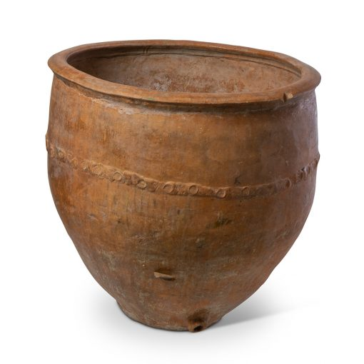Antique Spanish Terra Cotta Cosi Pot with Repairs. Vintage terracotta outdoor plant pot. Perfect for creative landscaping and beautiful gardens. Discovered by renowned landscape designer Stephen Block, owner of plant nursery and garden store Inner Gardens.