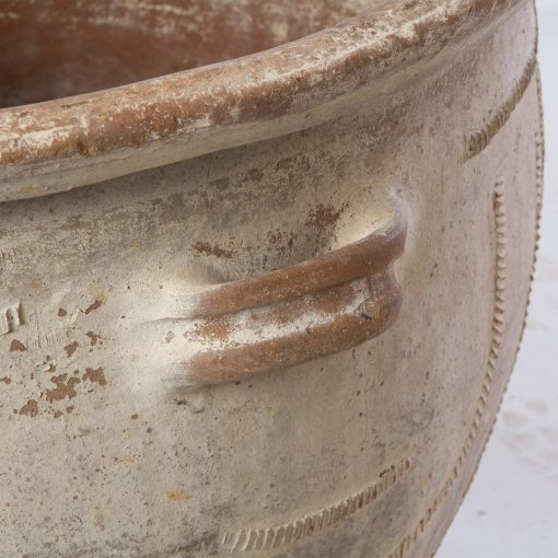 Antique Terra Cotta French Planter with Aged Patina. Vintage terracotta outdoor plant pot. Perfect for creative landscaping and beautiful gardens. Discovered by renowned landscape designer Stephen Block, owner of plant nursery and garden store Inner Gardens.