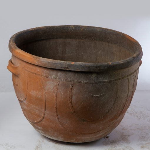 Antique Terra Cotta French Planter. Vintage terracotta outdoor plant pot. Perfect for creative landscaping and beautiful gardens. Discovered by renowned landscape designer Stephen Block, owner of plant nursery and garden store Inner Gardens.