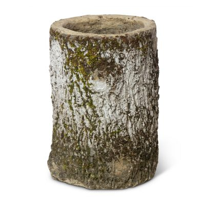 Vintage Concrete Faux Bois French Planter. Vintage terracotta outdoor plant pot. Perfect for creative landscaping and beautiful gardens. Discovered by renowned landscape designer Stephen Block, owner of plant nursery and garden store Inner Gardens.