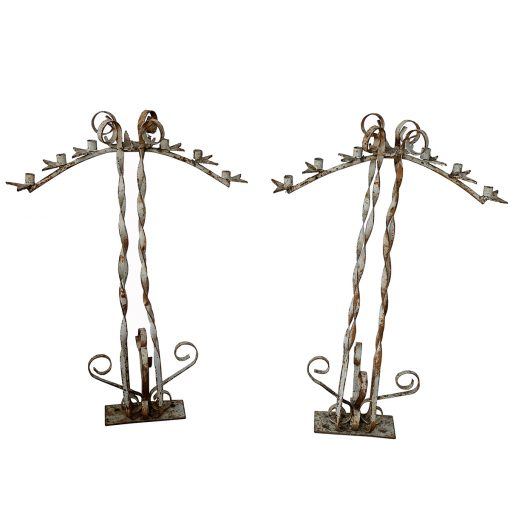 White iron antique candle holder