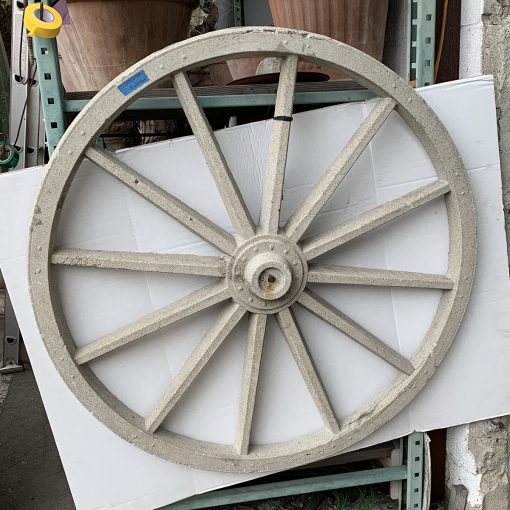 Cast stone vintage garden wagon wheel decor