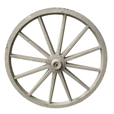 Vintage wagon wheel made of cast stone