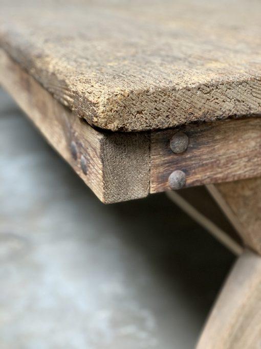 Vintage console table edge closeup