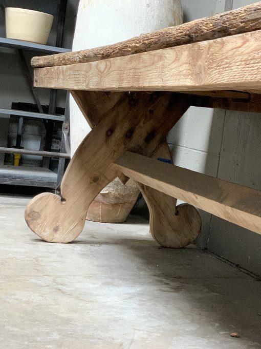 Vintage pine console table left leg closeup