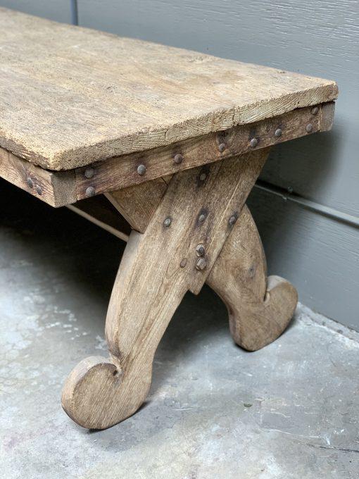 Vintage wood table right leg closeup