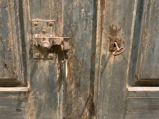 Antique French cupboard lock closeup