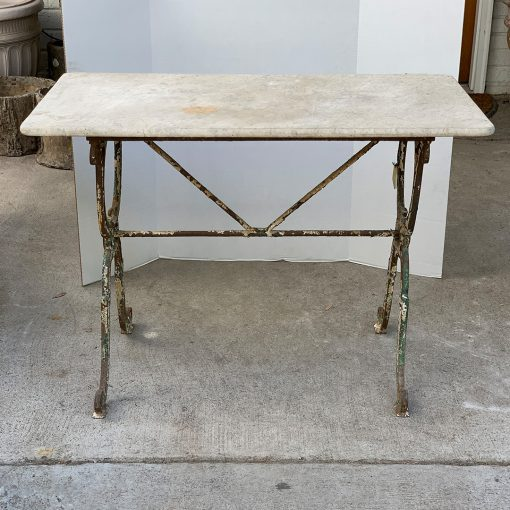 Antique Art Nouveau cast iron garden table with marble top