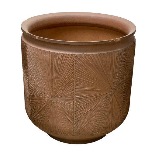 Vintage mid century pottery terra cotta planter with starburst design