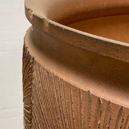 Mid century pottery planter left edge