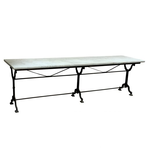 Antique French bistro table, marble top & cast iron