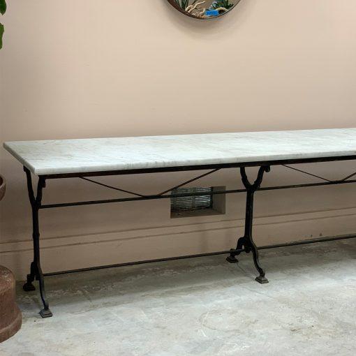 Antique art nouveau marble and cast iron table, left side
