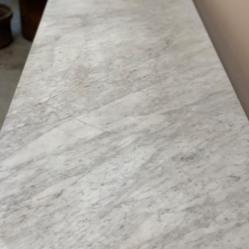 Antique French bistro table, marble top