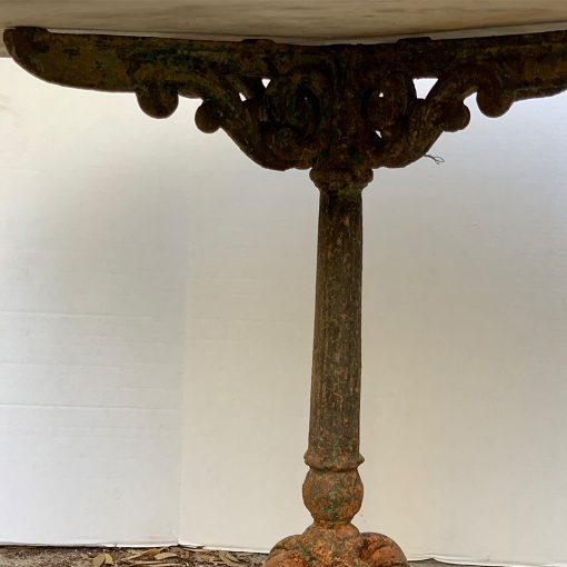 Antique art nouveau cast iron table leg detail
