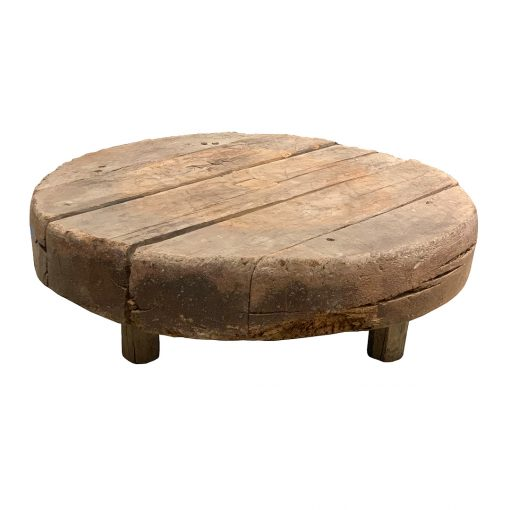 Antique outdoor table of reclaimed oak mill wheel