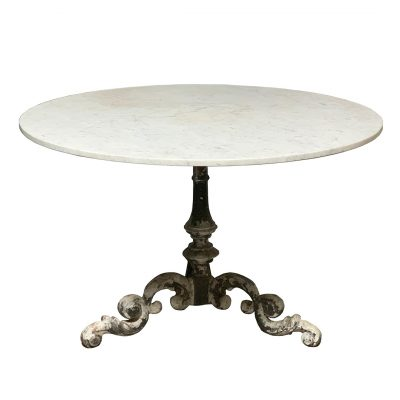 Round marble bistro table on vintage aluminum base